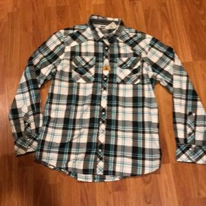 BKE Standard Fit Pearl Snap Button plaid